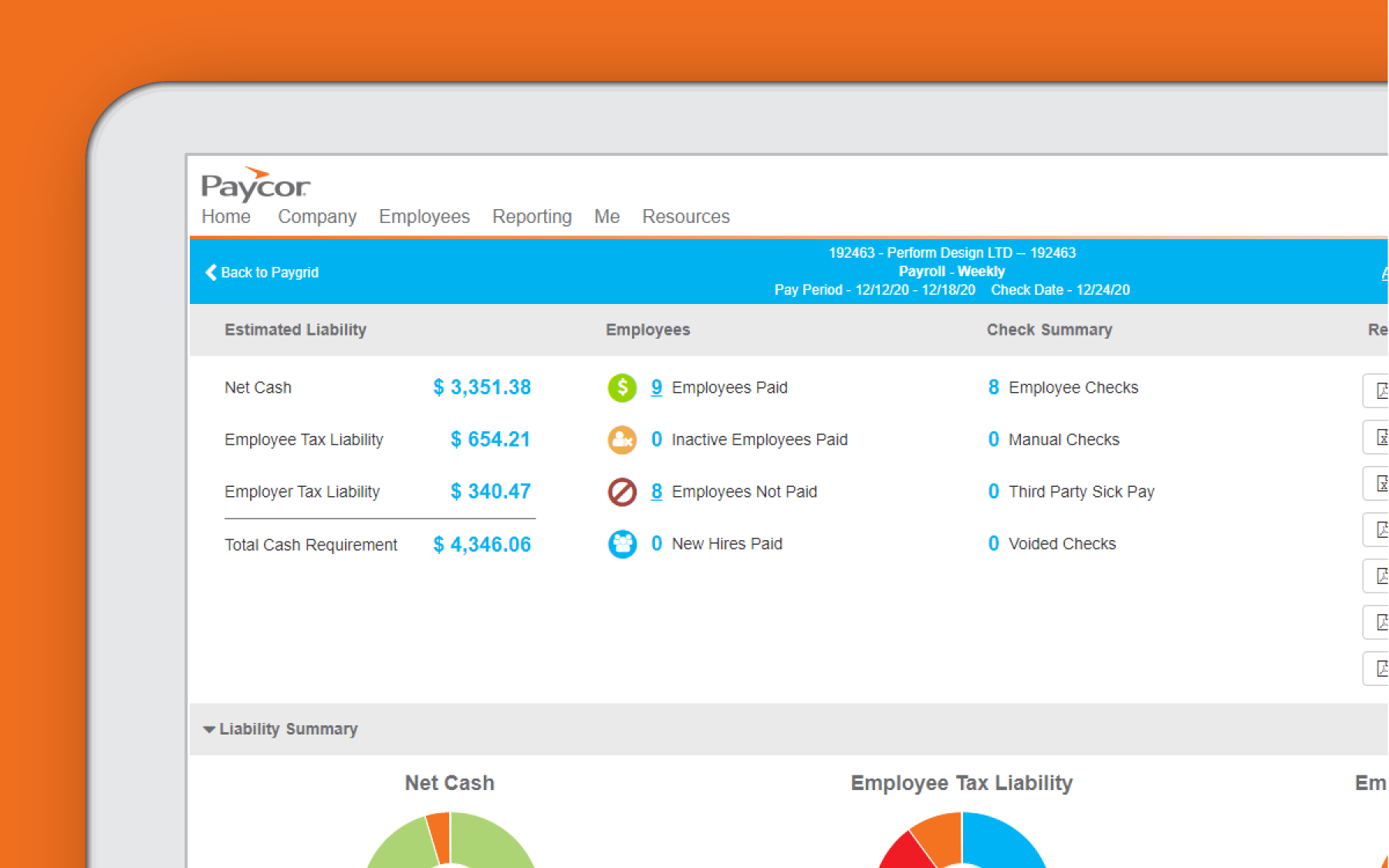 Corner of tablet showing employee reporting dashboard against orange background