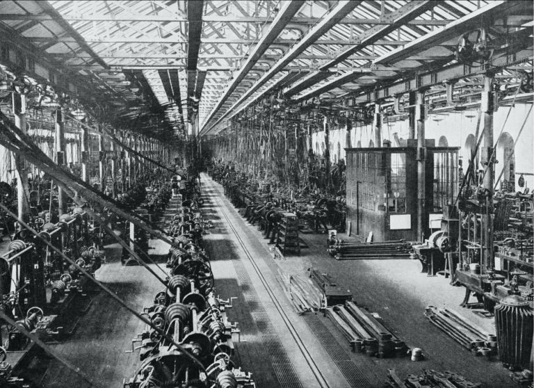 Inside of a factory with black-and-white effect